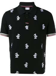 Moncler Gamme Bleu Goose Embroidered Polo Shirt Blue