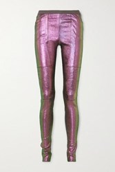 Rick Owens Iridescent Stretch Leather And Cotton Blend Leggings Metallic