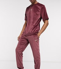 Reebok Velour Joggers In Maroon Exclusive To Asos Red
