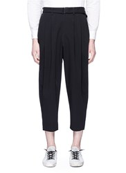 Attachment Belted Pleated Pants Black