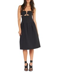 Kendall Kylie Box Pleat Solid Dress Black