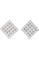 Alessandra Rich Silver Tone Crystal Clip Earrings One Size
