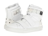 Mcm High Top W Brass Plate Detail White Men's Shoes