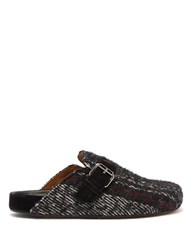 Isabel Marant Mirvin Backless Tweed Clogs Black Multi