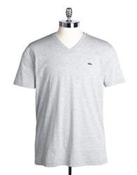 Lacoste V Neck Cotton Tee Silver