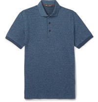 Loro Piana Puppytooth Virgin Wool And Cotton Blend Polo Shirt Blue