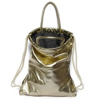 Judtlv Soft Leather Backpack Purse Gold