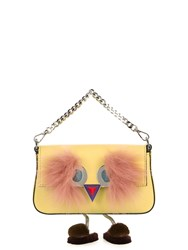 Fendi Micro Baguette Fur Embellished Cross Body Bag Yellow Multi