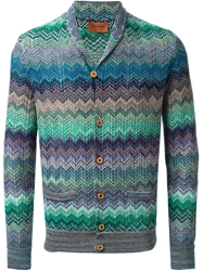 Missoni Zig Zag Crochet Knit Cardigan Green