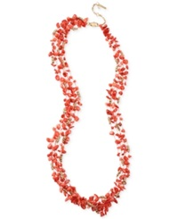 Kenneth Cole New York Gold Tone Semi Precious Coral Chip Bead Multi Row Necklace