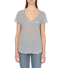 Paige Lynnea Striped Linen T Shirt White Dark Ink Blue