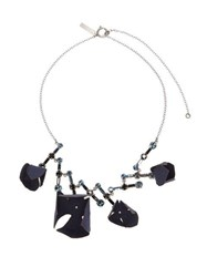 Marni Flora Fabric And Strass Crystal Necklace Blue