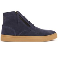 Diesel Navy Klawyn Mid Suede Chukka With Front Zip And Gum Sole Blue