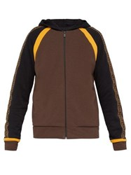 Fendi Ff Logo Zip Through Cotton Blend Hooded Sweatshirt Brown Multi