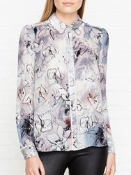 Reiss Mia Printed Long Sleeve Blouse Grey