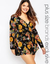 Alice And You Floral Print Wrap Front Playsuit Multi