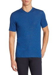 Armani Collezioni Striped V Neck Tee Blue