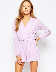 Love Wrap Front Romper With Long Sleeves Lilac