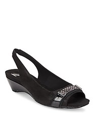 Anne Klein Harmonia Rhinestone Embellished Wedge Slingbacks Black Multi
