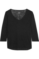 Majestic Slub Linen Top Black