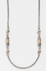 Konstantino Women's 'Classics' Two Tone Hammered Station Necklace