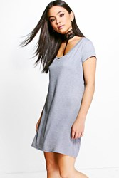 Boohoo Adina Lace Choker T Shirt Dress Grey