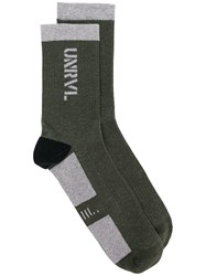 Unravel Project Panelled Socks Green