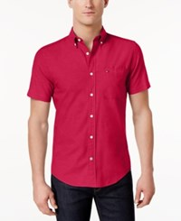 Tommy Hilfiger Men's Big And Tall Wainwright Short Sleeve Oxford Shirt Barberry