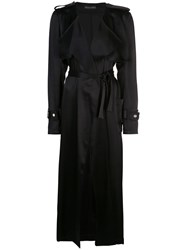 David Koma Satin Trench Coat Black