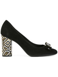 Salvatore Ferragamo Embellished Heel Pumps Black