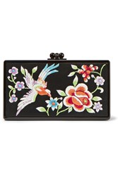 Edie Parker Jean Embroidered Satin And Acrylic Box Clutch