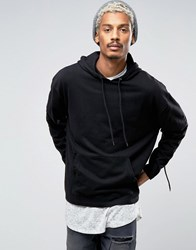 Asos Oversized Hoodie With Woven Panel And Drawstring Sleeve Black
