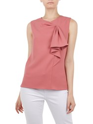 Ted Baker Kelliss Sculpted Bow Sleeveless Top Orange Coral
