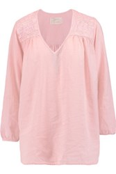 Current Elliott The Picnic Crochet Paneled Cotton Top Pastel Pink