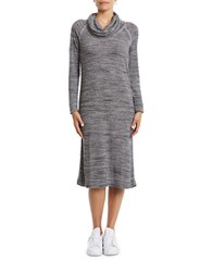 Three Dots Long Sleeve Cowlneck Dress Grey