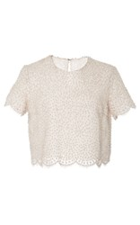 Costarellos Pearl Embroidered Short Sleeve Top White