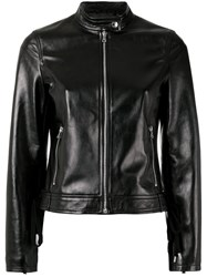 Red Valentino Zipped Leather Jacket Black