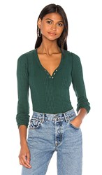 Nsf Indie Front Snap Henley In Green. Pitch Green
