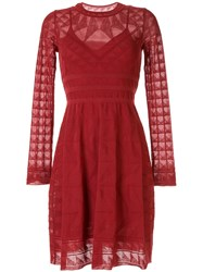 M Missoni Long Sleeved Knitted Dress Red