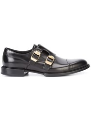 Versace Double Buckle Norman Derby Shoes Men Calf Leather Leather 42 Black