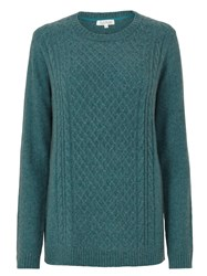 Tulchan Lattice And Cable Jumper Green