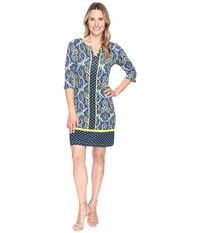 Hatley Peplum Sleeve Dress Ornate Paisley Rainforest Women's Dress Blue