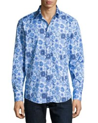 1 Like No Other Circle Print Sport Shirt Navy