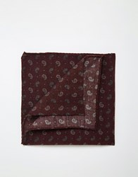 Noose And Monkey Paisley Wool Pocket Square Red