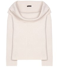 The Row Agneta Cashmere Off Shoulder Sweater Beige