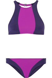 Flagpole Swim Celine Color Block Bikini Dark Purple