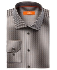 Tallia Men's Fitted Rust Check With Diamond Dobby Dress Shirt