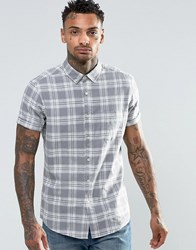 Asos Check Shirt In Linen Mix With Short Sleeves Grey