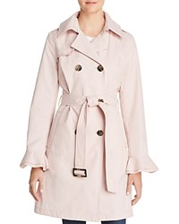 T Tahari Stella Ruffled Trench Coat Dusty Pink