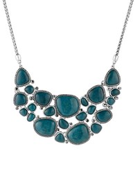 Lucky Brand Teal Jade Statement Necklace Silver
